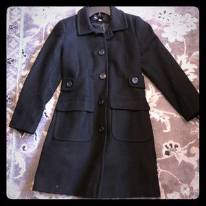 Black 100% wool long pea coat